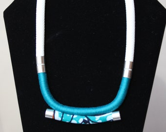 "Necklace ethnic rope/wax white ""Alafia"""
