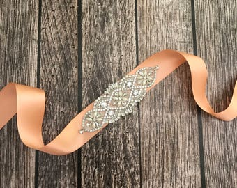 Peach wedding sash, rhinestone wedding sash, all white sash, wedding belt, simple wedding sash, white sash