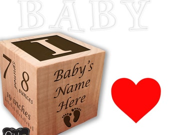 Baby girl birth announcement wood blocks personalized gift primitive nursery stacking blocks princess birth nursery shelf sitter new baby