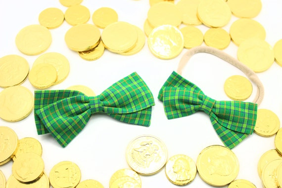 Baby Girl, Toddler, Fabric Bows, Newborn, Hand tied bow- St. Patrick's bow