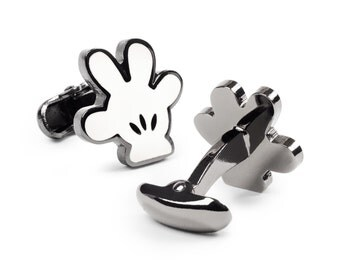 Disney Mickey Mouse Hand Gunmetal Tone Cufflinks + Gift Box