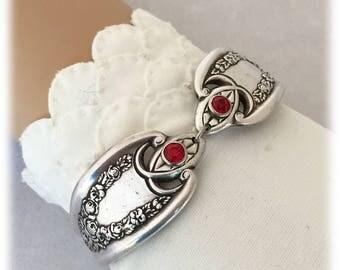 Ruby Birthstones, Antique Silverplate Flatware Bracelet, Old Colony Pattern, Spoon Bracelet
