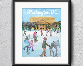 Ice Rink next the Archives - Postcards from Washington DC - winter illustration, sculpture garden, National Gallery of Art, iceskating print