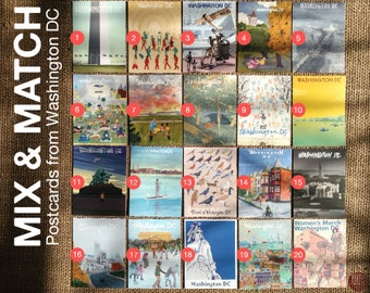 Postcards from Washington D.C. - MIX & MATCH - mail art, 51th, greetings from dc, postcard art, USA capital, collection, pfwdc, snail mail