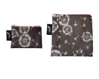 Ready to ship - Reusable Snack Bag Set - with zipper - breeze print