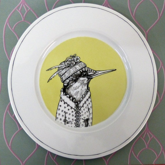 Hand painted porcelain collection plate  - kingfishers