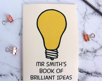 Teacher's Thank You Gift Brilliant Ideas Notebook - lightbulb moment - gift for clever person - teacher gift - gift for studying - teacher