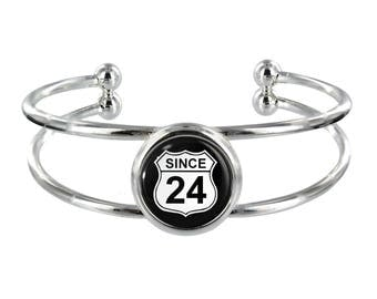 Since 24 Silver Plated Bangle in Organza Gift Bag