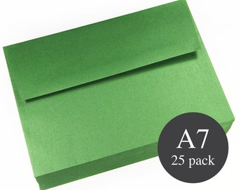 25 - A7 Green Metallic Square Flap Envelopes - 5 1/4 x 7 1/4 - Botanic