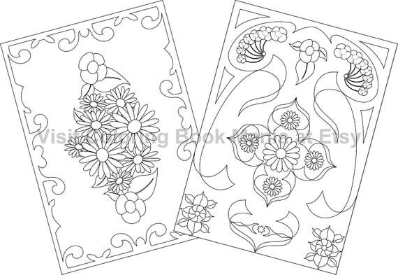 """NOTECARDS to COLOR, 5"""" x 7"""" cards with envelopes - 4 delightful Nature Themed cards - 2 each of 2 Flower designs!!!"""
