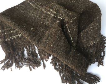 Hand Woven Wool Baby Blanket, Hand Spun Rambouillet Yarn