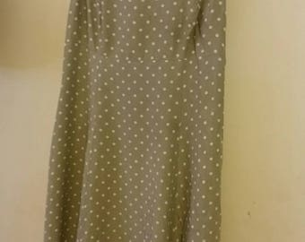 Vintage style jade green and white polka dot tea dress (size 16)