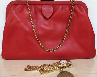 1960s Red Leather Calderon Purse- Made in the US
