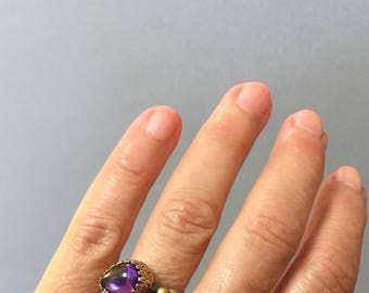 Vintage Turkish Sterling Silver Purple Gem Stone Ring, Silver Turkish Jewelry- Free Domestic and International Shipping