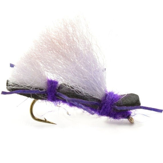 Hand Tied Trout Flies: Chubby Chernobyl Ant Dry Fly - Purple - Hook Size 10