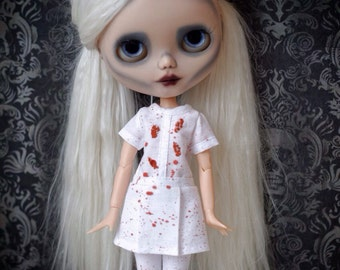 Blythe killed nurse costume, with cuts and bloodstains