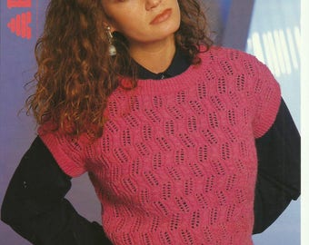 Ladies Lace and Cable Sleeveless Top Knitting Pattern.