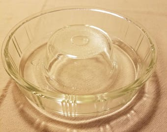 Vintage Queen Anne Glasbake Clear Bundt Pan Jello Mold