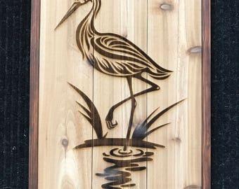 Wood Bird Wall Art - Great Blue Heron
