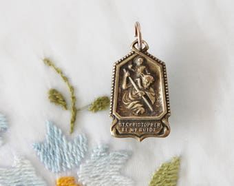 Art Deco St. Christopher Be  My Guide Safe Travel Medal