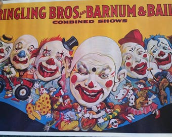 Ringling Bros. and Barnum & Bailey circus poster...CLOWNS !!!!!!