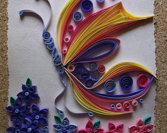 Quilling picture Butterfly, Quilling Art, Quilled Home Decoration, Original Paper Quilling Wall art, Handmade Wall Art
