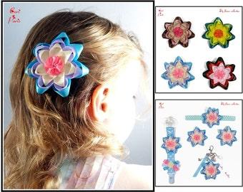Blue hair clip // hair accessories // large ribbon flower // toddler hair clips // baby hair clips // hair barrette // baby barrettes / gift