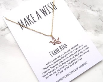 Origami Crane bird make a wish necklace, dainty minimalist necklace, sorority jewelry, bff gift, delicate jewelry, fine gold jewelry