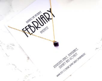 FEBRUARY birthstone necklace, square gold necklace, amethyst necklace, minimalist dainty necklace, simple everyday necklace, mother gift