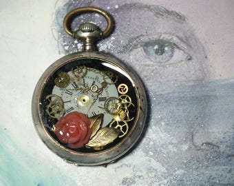 Romantic steampunk pendant  silver plated  pocket watchcase with a coralrose, goldy leaves, a dial  gears in resin