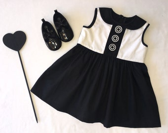 Black and white collared button dress