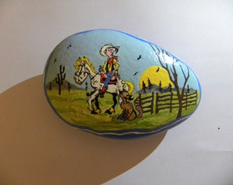 lucky luke hand painted stone