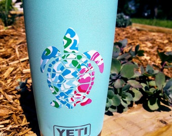 Lilly Pulitzer Inspired Sea Turtle Vinyl Decal