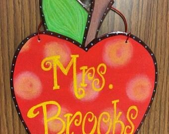 Wooden Apple Teacher Door Hanger