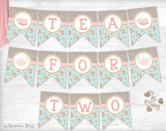 Tea for Two Birthday Banner Printable Instant Download
