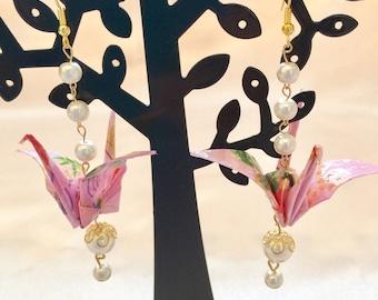 "Japanese earring, origami jewelry ""crane"""