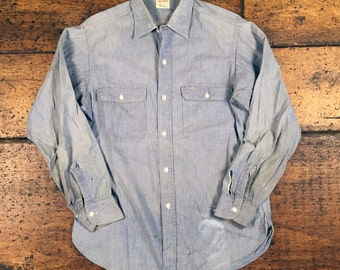 Vintage Big Mac Chambray Sanforized Penneys Workwear Button Up Shirt Sz Large