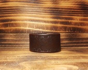 Deep Violet Hand Made Leather Cuff Bracelet
