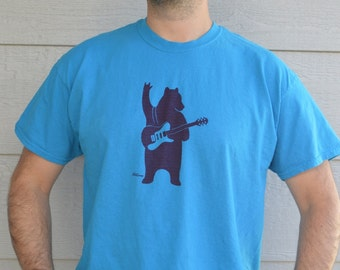 Bear playing Guitar T-shirt / Burgundy on Blue / Men shirt / Bear shirt / Guitar shirt / Blue shirt