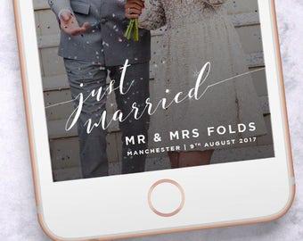 On Demand Custom Snapchat Geofilter, Retro Cursive Wedding, Snapogram Wedding Filter 022