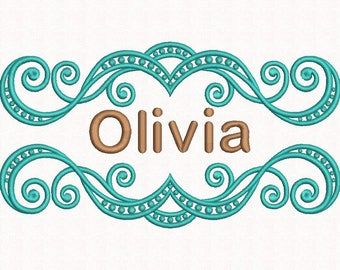 font frame embroidery design name frame machine embroidery design 3 sizes instant download - Name Frame
