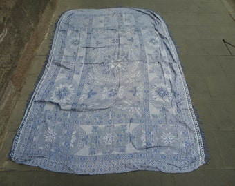 Vintage Turkish bedspread,tablecloth,made of silky material,91 x 60 inches