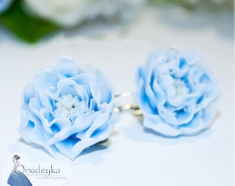 Blue flower earrings Blue polymer clay flowers Blue polymer clay earrings Blue peony clay earrings Blue rose clay earrings Clay flowers gift