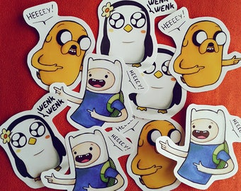 Adventure Time Stickers. Finn, Jake and Gunter