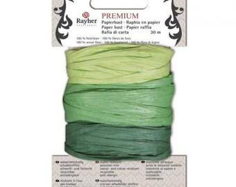 Premium paper raffia 3 shades of green, 30 m code: RAY-3352017000
