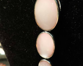 "Sterling silver pink mother of pearl pendant necklace with 16"" snake chain. Gift boxed."