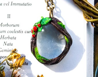 Summer day- Forest-nature-magic-fairies-wood-moss-jewelery handmade-glass-transparent