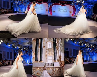 Russia royal sequins lace wedding dress