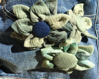 Handdyed fabric and denim skirt worh handmade flowers