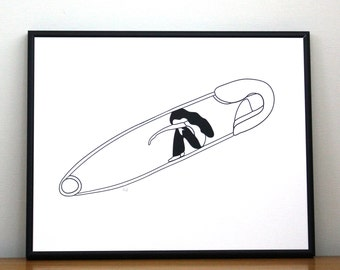 """Black and white screen printed illustration. """"Safe Place"""""""